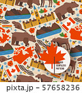Canadian symbols and main landmarks, vector illustration. Seamless pattern with flat style icons of 57658236