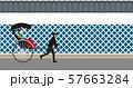 人力車と生子壁。日本の古都。ベクター素材 57663284
