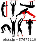 Set of acrobats in different stances silhouette on 57672110
