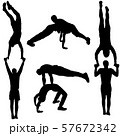 Set of acrobats in different stances silhouette on 57672342