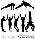 Set of acrobats in different stances silhouette on 57672343
