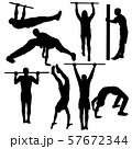 Set of acrobats in different stances silhouette on 57672344