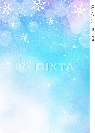 幻想的な雪の結晶 水彩背景 星空 縦デザイン 57677555