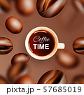 Flying Coffee Beans Vector 3d Background or 57685019