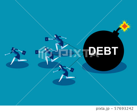 Business team run away from debt. Concept business 57693242
