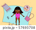 Beautiful young girl tanning. Cartoon vector illustration. African child. 57693708