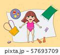 Beautiful young girl tanning. Cartoon vector illustration. 57693709