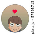 Cute cartoon boy with love emotions. Vector illustration 57693713