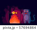 The cat in a forest looks at a bonfire with fish. Lovely cat dreaming about fish. 57694864