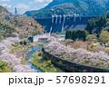 桜 満開 溪石園 ダム 57698291
