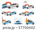 イラスト素材:車の事故、セット 57700402