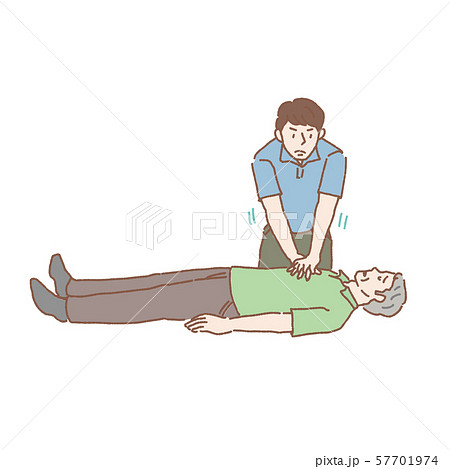 高齢男性 心臓マッサージ イラスト 57701974