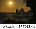 (静岡県)西伊豆・大田子海岸の夕陽 57708341