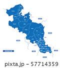 京都府地図 シンプル青 市区町村 57714359
