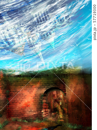 空から降ってくる城のイラスト 57719300
