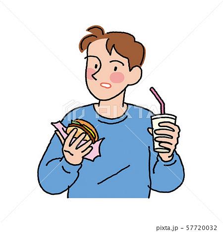 ハンバーガーとソフトドリンクを飲む男性 57720032