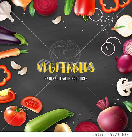 Realistic Vegetables Chalkboard Frame 57730638