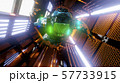 Astronaut flying in the tunnel of a spaceship. Sci-Fi futuristic space corridor VJ for titles and 57733915