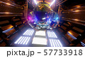 Astronaut flying in the tunnel of a spaceship. Sci-Fi futuristic space corridor VJ for titles and 57733918