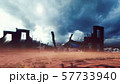 The ruins of an abandoned destroyed post-apocalyptic city at sunset. The Concept Of Apocalypse. 3D 57733940