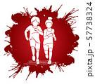 Boy and Girl running together, Children running cartoon graphic vector 57738324