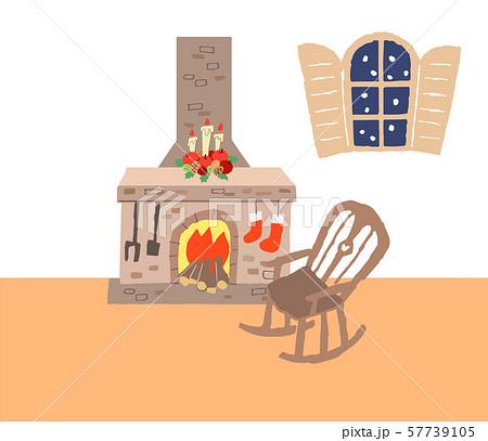 暖炉とロッキングチェアのある部屋 57739105