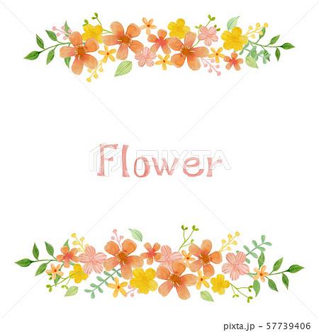 手描き水彩テクスチャの花フレームのイラスト素材