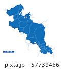 京都府地図 シンプル青 市区町村 57739466