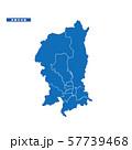 京都市地図 シンプル青 市区町村 57739468
