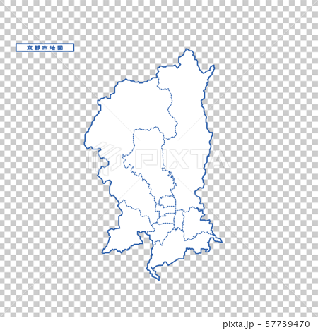 Kyoto City Map Simple White Map City 57739470