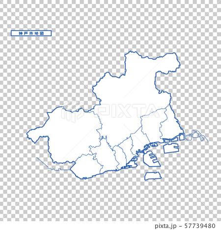고베지도 단순 백지도 도시 57739480