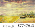 Watercolor seascape painting of fishing boat. 57747913