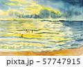 Watercolor seascape original painting  family 57747915