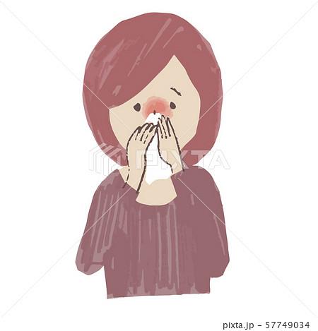 体調不良 鼻をかむ女性 57749034
