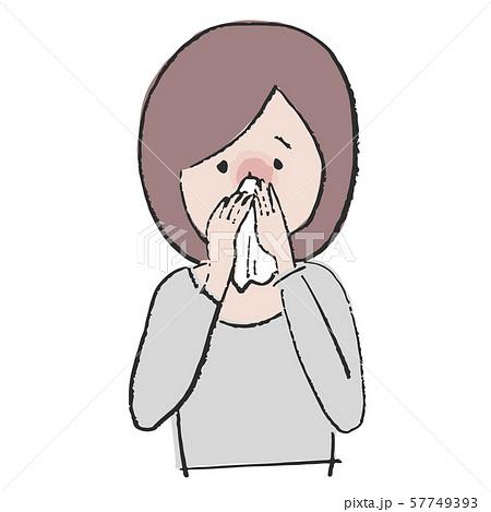 体調不良 鼻をかむ女性 57749393