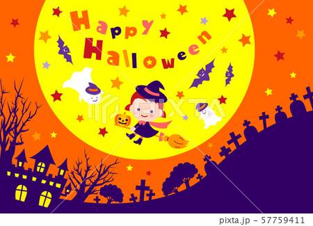 ハロウィン 魔女 満月 ポストカード 57759411