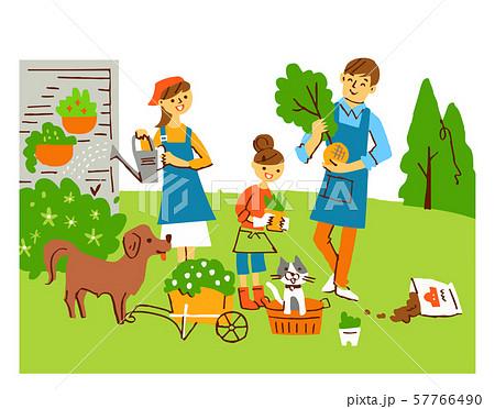 ガーデニングをする家族 57766490