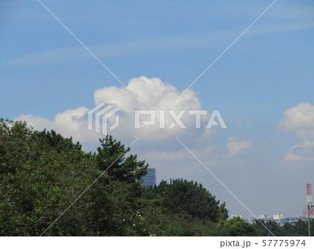 九月の青空と白い雲 57775974