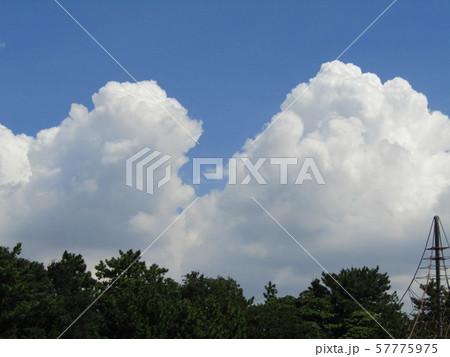 九月の青空と白い雲 57775975