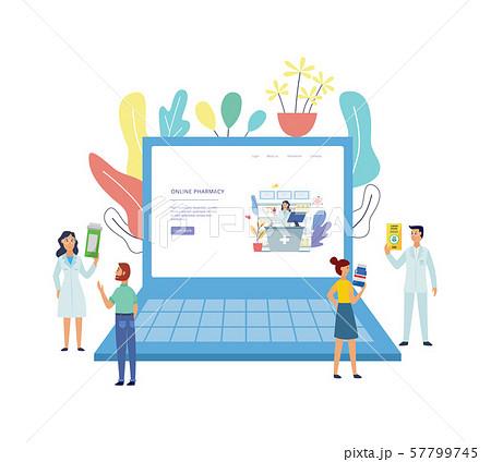 Online pharmacy or consultation banner flat vector illustration isolated. 57799745
