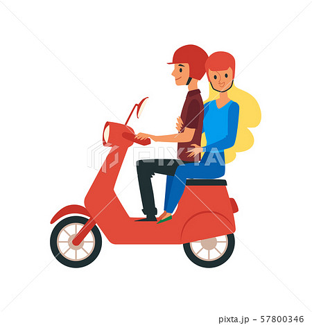 Young loving couple traveling riding on bike Flat vector illustration isolated. 57800346
