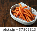 Fried crispy sweet potato, delicious french fries 57802813