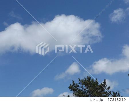 九月の青空と白い雲 57813259
