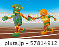 リレー競技でバトンパスするロボットランナー 57814912