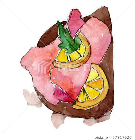 Sandwich in a watercolor style isolated. Watercolour fast food illustration element on white 57817626