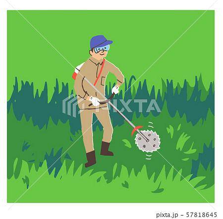 草刈りをする男性 57818645