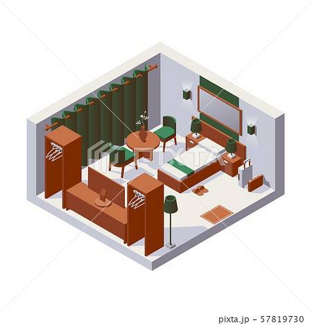 Isometric interior hotel room for one person, 57819730