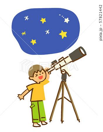 望遠鏡で星を見る男の子 57821442