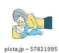 赤ちゃんと添い寝をするママ 57821995