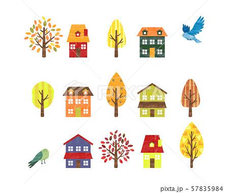 手描き水彩風 秋のイメージ 家と木と小鳥 57835984